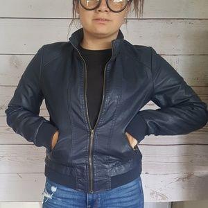 Jackets & Blazers - Dark Blue Leather Bomber Jacket Zip up